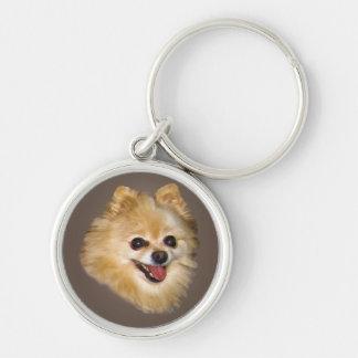 Pomeranian Dog on Brown Keychain