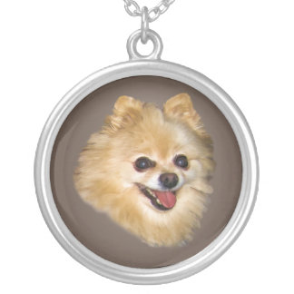 Pomeranian Dog on Brown Necklace