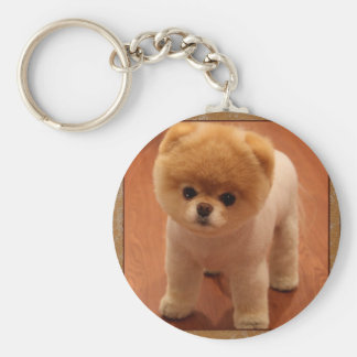 Pomeranian Dog Pet Puppy Small Adorable baby Basic Round Button Key Ring