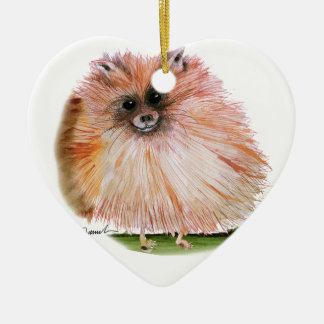 pomeranian dog, tony fernandes ceramic heart decoration