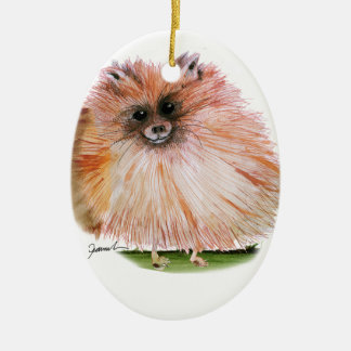 pomeranian dog, tony fernandes ceramic oval decoration