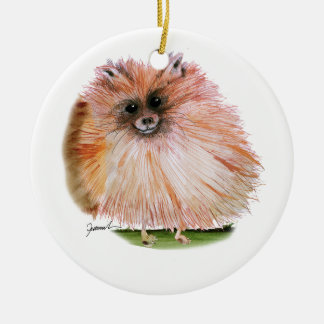 pomeranian dog, tony fernandes round ceramic decoration