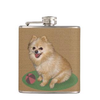 Pomeranian Dog with Ball Customizable Hip Flask