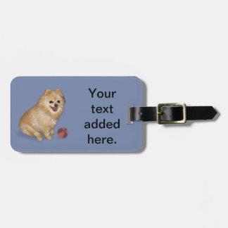 Pomeranian Dog with Ball Travel Bag Tags