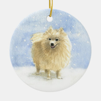 Pomeranian Eskie in the Snow Round Ceramic Decoration