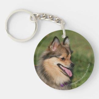 Pomeranian Headshot Panting Double-Sided Round Acrylic Key Ring