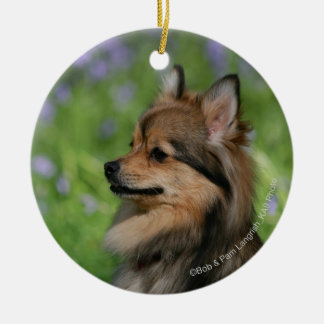 Pomeranian Headshot Sitting Round Ceramic Decoration