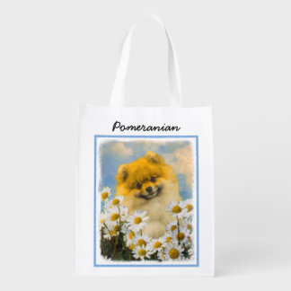 Pomeranian in Daisies Painting - Original Dog Art Reusable Grocery Bag