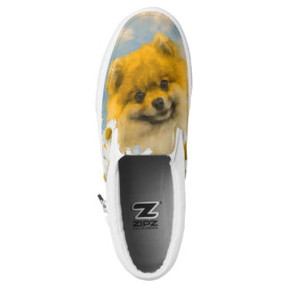 Pomeranian in Daisies Slip-On Shoes