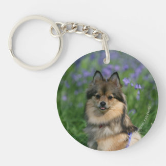 Pomeranian in the Grass Double-Sided Round Acrylic Key Ring
