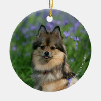 Pomeranian in the Grass Round Ceramic Decoration
