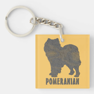 Pomeranian Single-Sided Square Acrylic Keychain