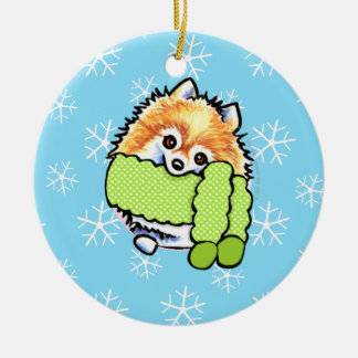Pomeranian Let it Snow Christmas Ornament