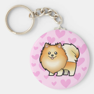 Pomeranian Love Basic Round Button Key Ring