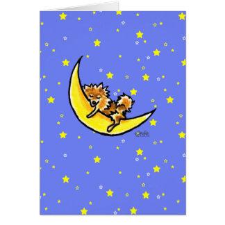 Pomeranian Moon Card
