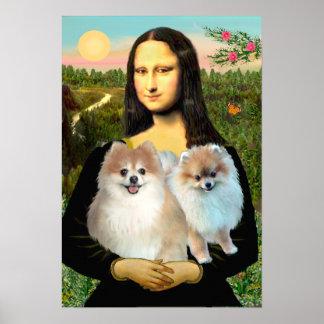Pomeranian Pair 3 - Mona Lisa Poster