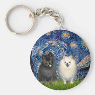 Pomeranian Pair (B+W)-Starry Night Basic Round Button Key Ring