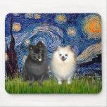 Pomeranian Pair (B+W)-Starry Night Mouse Pad