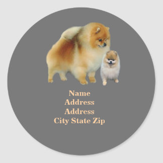 Pomeranian Pals Address Label Round Sticker