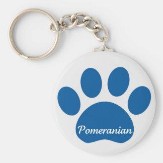 Pomeranian Paw Blue Key Chain