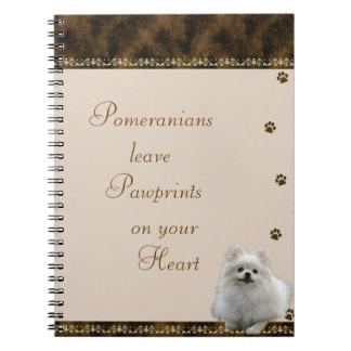 Pomeranian Pawrints on Your Heart Notebook ~brown