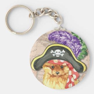 Pomeranian Pirate Basic Round Button Key Ring