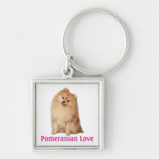 Pomeranian Pom Pom Puppy Dog Purple Love Silver-Colored Square Key Ring