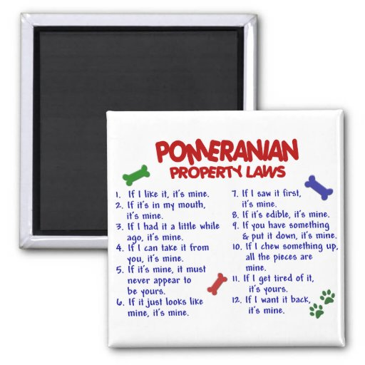 POMERANIAN Property Laws 2 Fridge Magnets