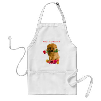 Pomeranian Puppy Be My Valentine Roses Standard Apron