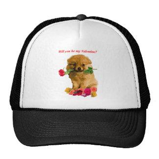Pomeranian Puppy Be My Valentine Roses Cap