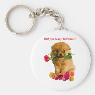 Pomeranian Puppy Be My Valentine Roses Basic Round Button Key Ring