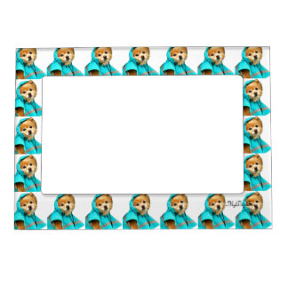 Pomeranian Raincoat #1 Magnetic Picture Frame