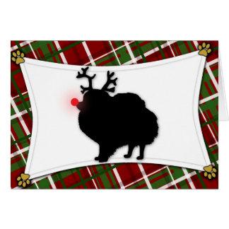 Pomeranian Reindeer Christmas Card