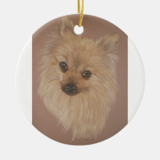 Pomeranian Round Ceramic Decoration