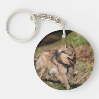 Pomeranian Running with Harness on Double-Sided Round Acrylic Key Ring