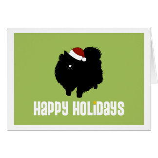 Pomeranian Santa Hat Card