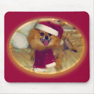 Pomeranian Santa Xmas mouse pad