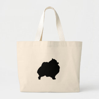 Pomeranian silhouette large tote bag