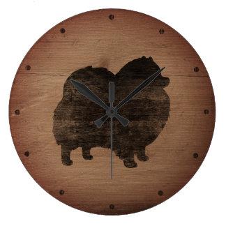 Pomeranian Silhouette Rustic Large Clock
