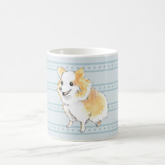 Pomeranian Sitting Watercolour in Blue Coffee Mug