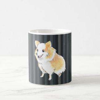 Pomeranian Sitting Watercolour in Navy Basic White Mug