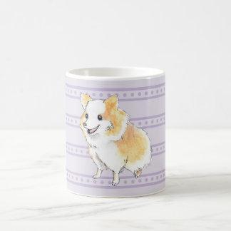 Pomeranian Sitting Watercolour in Purple Basic White Mug
