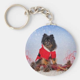 Pomeranian sled ride keychain