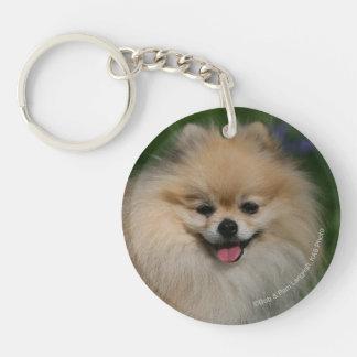 Pomeranian Smiling Double-Sided Round Acrylic Key Ring