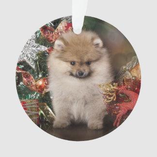 Pomeranian Spitz, Christmas Puppy Ornament
