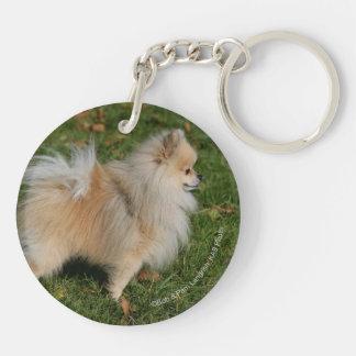 Pomeranian Standing Double-Sided Round Acrylic Key Ring