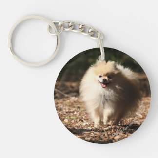 Pomeranian Trotting in the Fallen Leaves Double-Sided Round Acrylic Key Ring