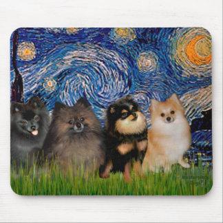 Pomeranians (four) - Starry Night Mouse Mat