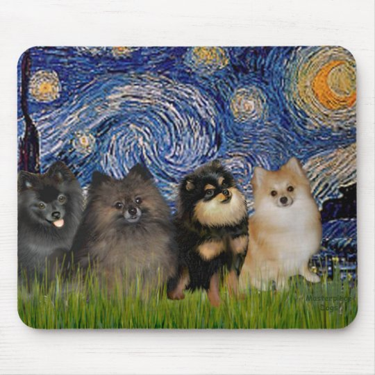 Pomeranians (four) - Starry Night Mouse Pad