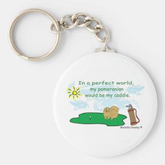 PomeranianTan Basic Round Button Key Ring